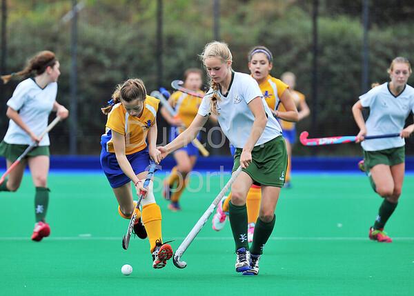 4 October 2014. Peffermill, Edinburgh.  Girls Youth Inter-District Hockey. Under 16 South v West