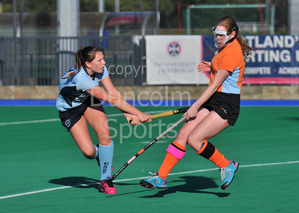 4 October 2014. Peffermill, Edinburgh.  Girls Youth Inter-District Hockey. Under 16 East v Highland