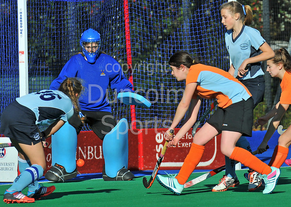 4 October 2014. Peffermill, Edinburgh.  Girls Youth Inter-District Hockey. Under 16 East v Highland