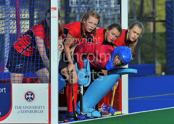 4 October 2014. Peffermill, Edinburgh.  Girls Youth Inter-District Hockey. Under 18 South West v North