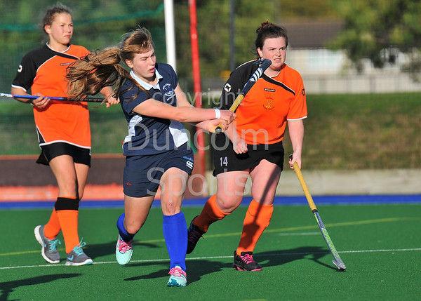 4 October 2014. Peffermill, Edinburgh.  Girls Youth Inter-District Hockey. Under 18 Highland v Midland