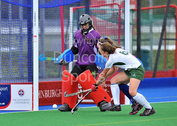 4 October 2014. Peffermill, Edinburgh.  Girls Youth Inter-District Hockey. Under 18 South v West