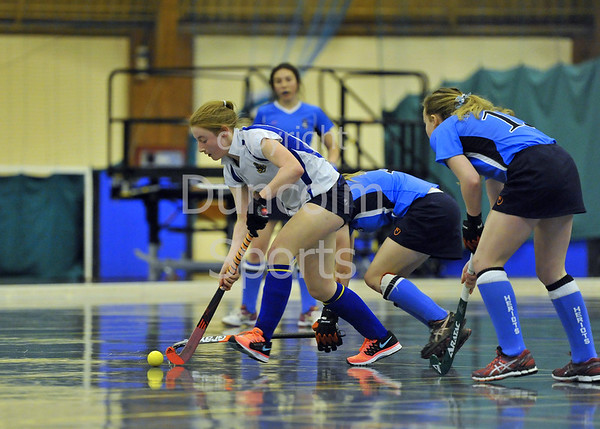 17 January 2015. Bells Sports Centre, Perth. Under 18 Indoor Hockey Scottish Cup Finals. George Heriot's v Strathallan