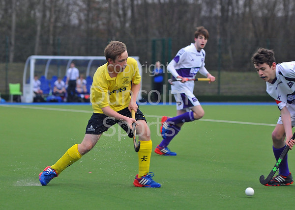 4 April 2014. Scottish Hockey Boys under 18s Plate Final at Glasgow Green.<br /> Inverleith v AAM Gordonians