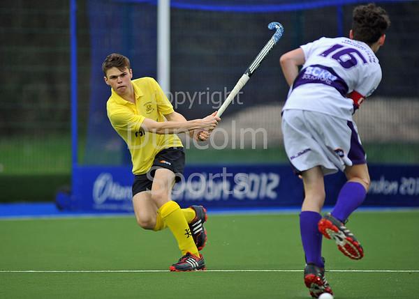 4 April 2014. Scottish Hockey Boys under 18s Plate Final at Glasgow Green.<br /> Inverleith v AAM Gordonians