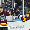 Chicago Wolves Jordan Schroder (left) celebrates with fellow Wolf Victor Oreskovich