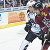 Chicago Wolves #20 Darren Haydar battles for position with Milwaukee Admirals Ryan Ellis