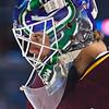 Chicago Wolves goaltender Eddie Lack's Vancouver Canucks themed mask