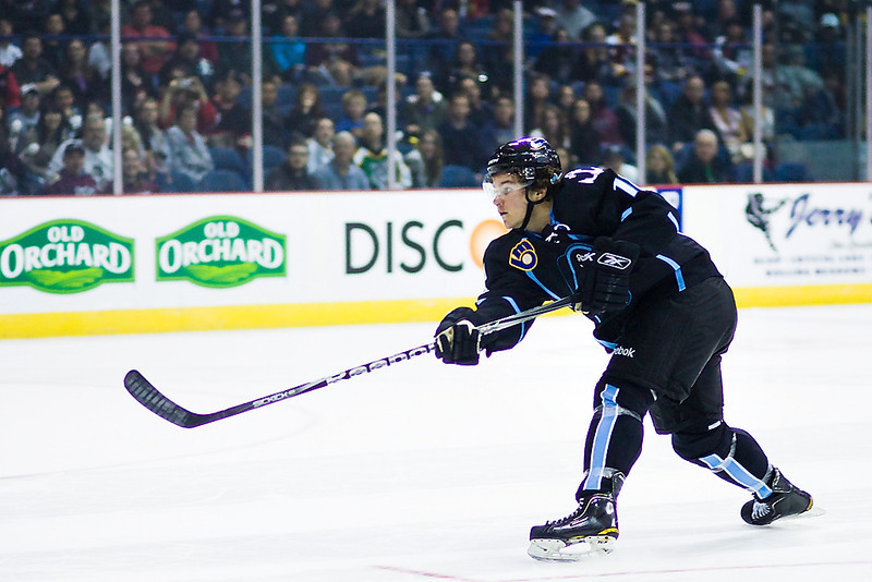 Milwaukee Admirals Michael Latta scores in the shootout