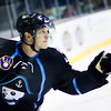 Jusso Pusstinen of the Milwaukee Admirals celebrates after the game-winning shootout goal