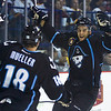 Mueller and fellow Admiral Joel Champagne celebrate the Admirals second goal
