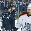 #18 Mueller and fellow Admiral Joel Champagne celebrate the Admirals second goal