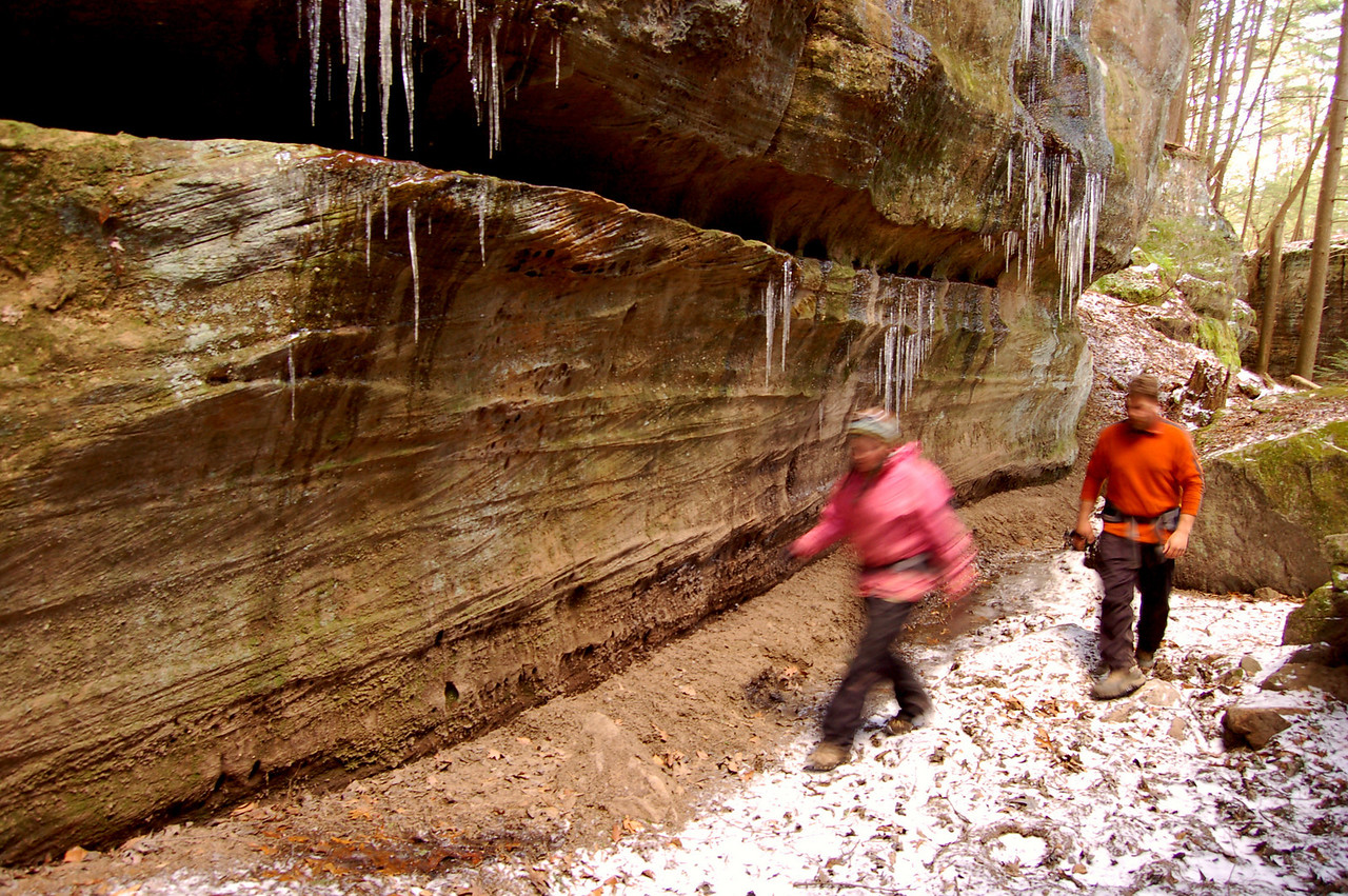 Hikers on the Buckeye Trail in Hocking Hills State Park.
