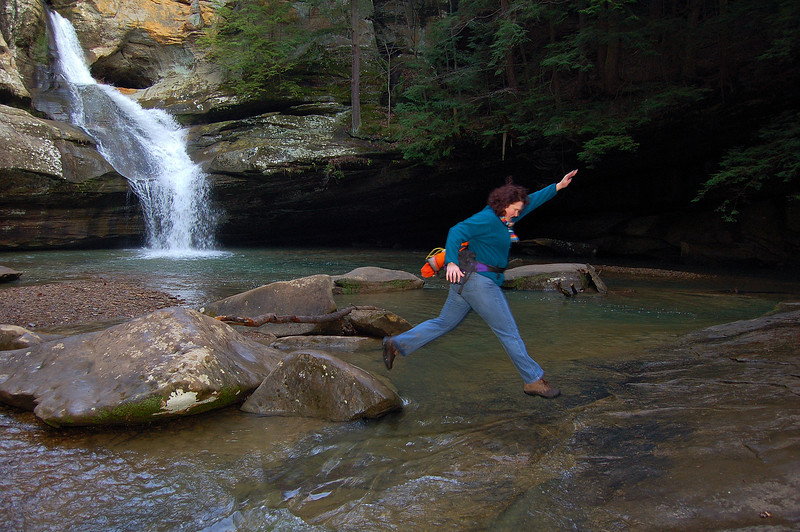 Jumping for joy at Cedar Falls, Old Man's Cave, Hocking Hills State Park