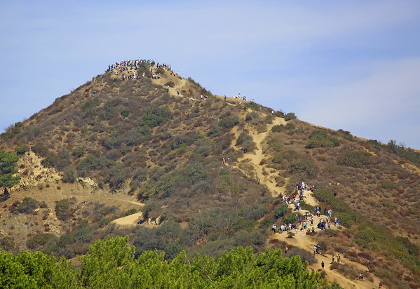 Hikers climbed to tops of mountains for a better view of the Endeavour being transported to LAX by piggy-back on a NSA 747 did a fly-by over and around Griffith Park Observatory 9/21/12.