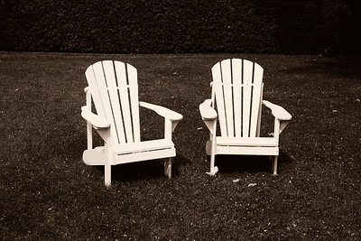 Two lawn chairs at Briars Resort north of Toronto