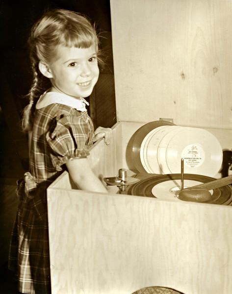 Karen playing records