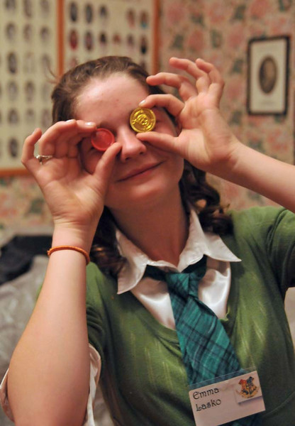 Emma Lasko and some chocolate coins.