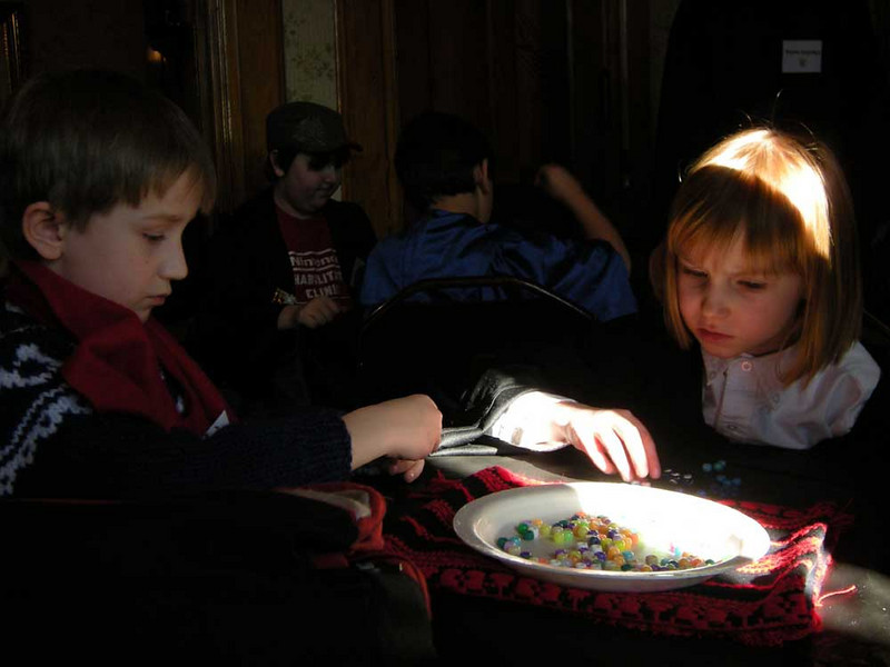 Charms class - making a necklace to repel the Evil Eye.