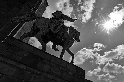 Equestrian statue of Emperor William I, high noon (b/w)