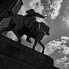 Equestrian statue of Emperor William I, high noon (b/w)