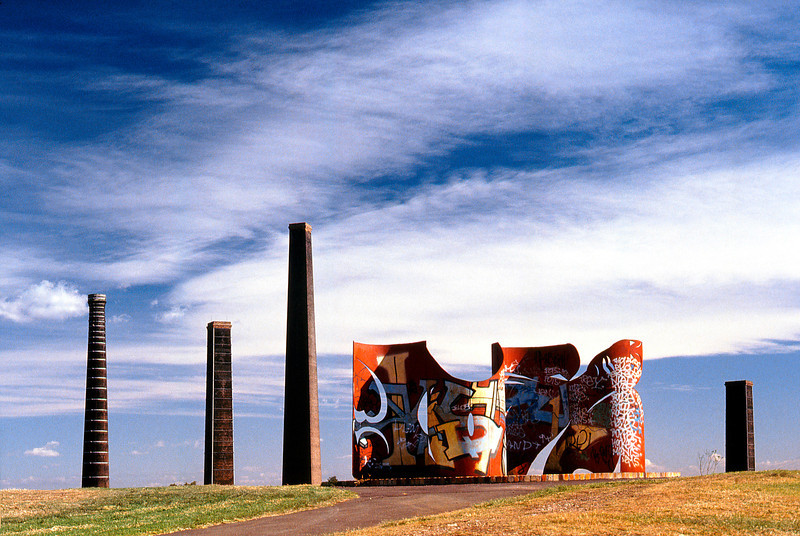 GWP. Chimneys at Sydney Park. About 1993. The Buggered Monument.