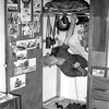 Soldier in new two storey brick barracks Puckapunyal in Victoria. Royal Australian Armoured Corps (Tanks etc). Lofty Harris scored by devious means two lockers instead of one like all others. Photos helped stop locker inspections.