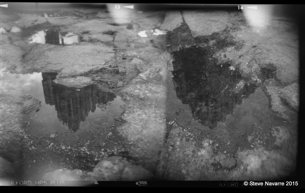 Sebelius Monument reflection with raindrops