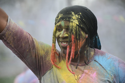Ryo Onejeme enjoys the Holi Festival, Saturday, March 10, 2018, in Chico, California. (Carin Dorghalli -- Enterprise-Record)