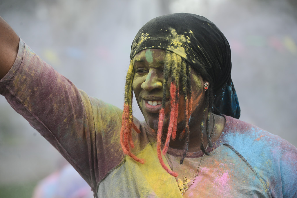 . Ryo Onejeme enjoys the Holi Festival, Saturday, March 10, 2018, in Chico, California. (Carin Dorghalli -- Enterprise-Record)