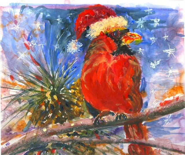 ". ""Festive Cardinal,\"" by Ruth King"