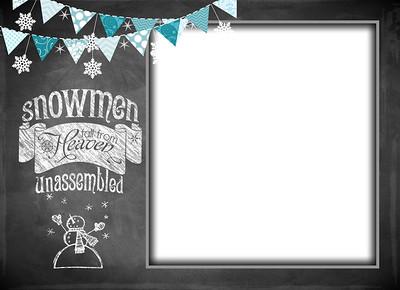 Chalkboard Snowmen Front 5 x 7