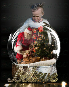 8x10 Believe Snow Globe