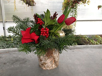 Birch Pot w/ Fresh Greens. Add your own Fresh Cut Flowers for a real WoW!