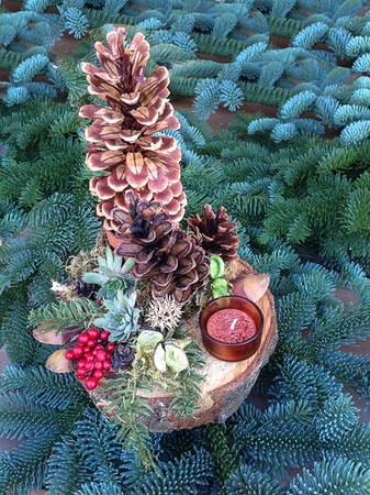 Birch Decor - Birch Slice Topped with Pine Cones & Candle. <br>SOLD OUT