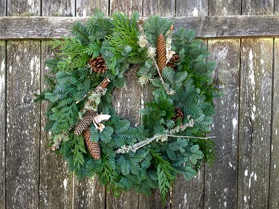 "Wreath Fresh - 16"" Rd with Mixed Greens, Pine Cones & Lichen Twigs."