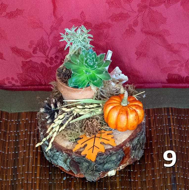 #9 - Wood Slice with Fall decor and terra cotta pot. Great gift or perfect for an end table.