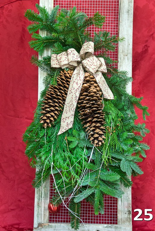 """#25 - 32"""" - 36"""" large door swag with 2 large sugar pine cones & bow."""