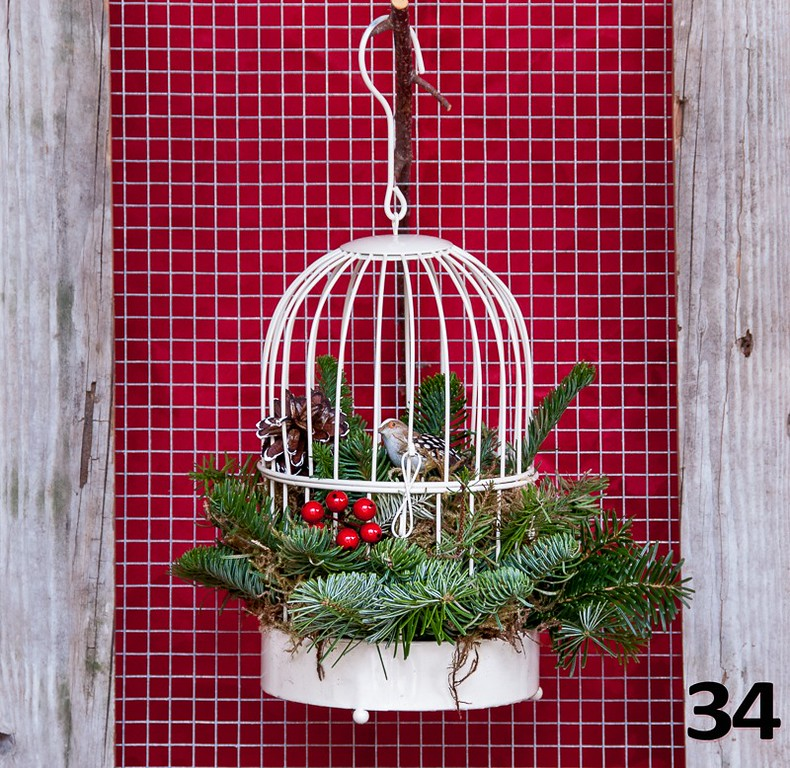 #34 - Small vintage ivory birdcage with PNW fresh greens and seasonal decor.