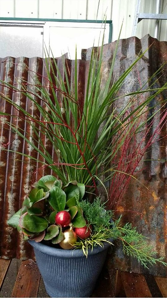 "12"" Round Smokey Grey Planter - Winter Color & Holiday Decor"