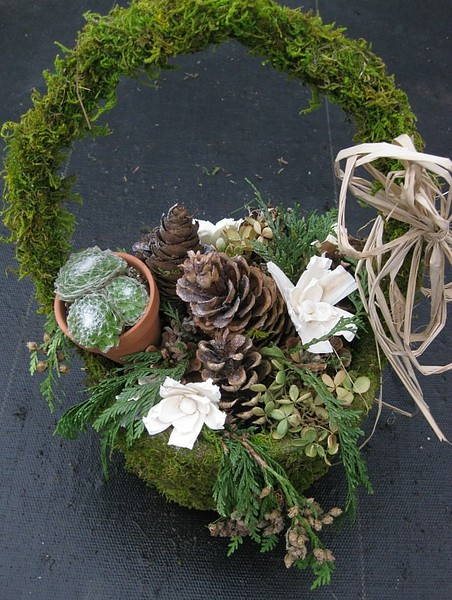 Small Moss Basket w/ Handle & Cones