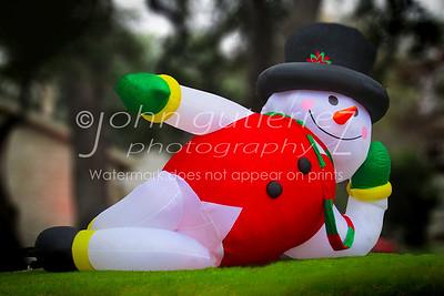 Snowman on grass