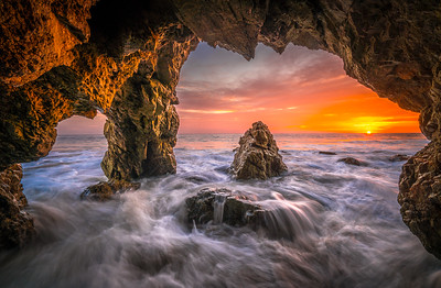 Epic Malibu Sea Cave Sunset