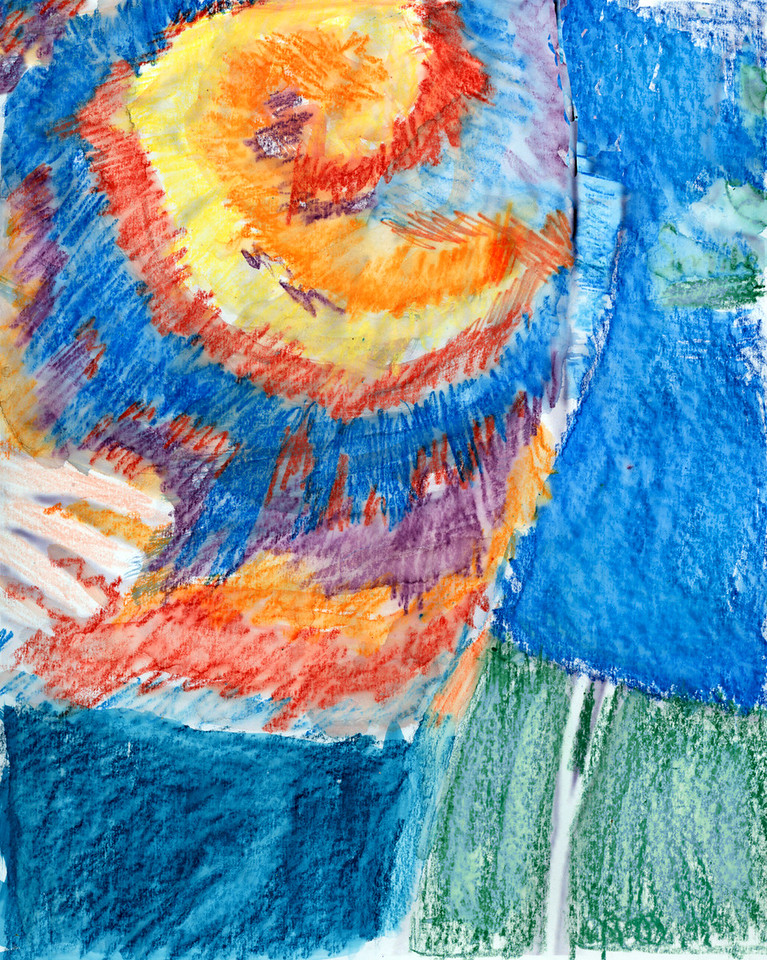 Watercolor pastel and crayon.
