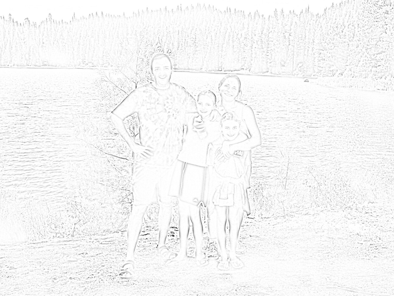 "The first step was to apply a ""photocopy"" filter to the original photograph in Photoshop. I then increased the contrast and lightened the image to create a cartoony (coloring-book) effect. I up-sampled this image to something like 45""x60"", then exported to Illustrator. I adjusted the document format to tile the image onto 40 sheets of paper, and then printed directly from Illustrator onto card stock. We then passed the pages around the family, with the instructions to be a little creative. After they were all colored (or painted, etc.), I scanned them back into Photoshop and reassembled the image."