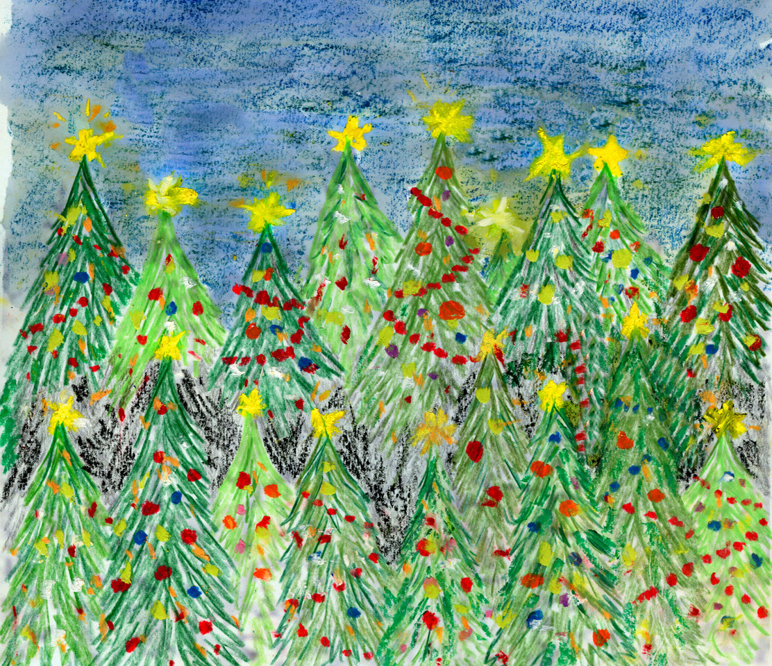Christmas trees! Done in crayon and watercolor.