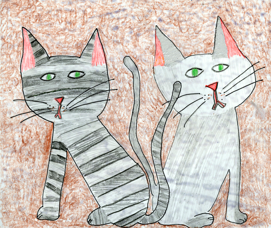 Our cats Jake (left) and Keiko (right) had to figure into this somehow. Elena is our resident cat artist. She did this in pencil and colored pencil (and maybe a bit of crayon).