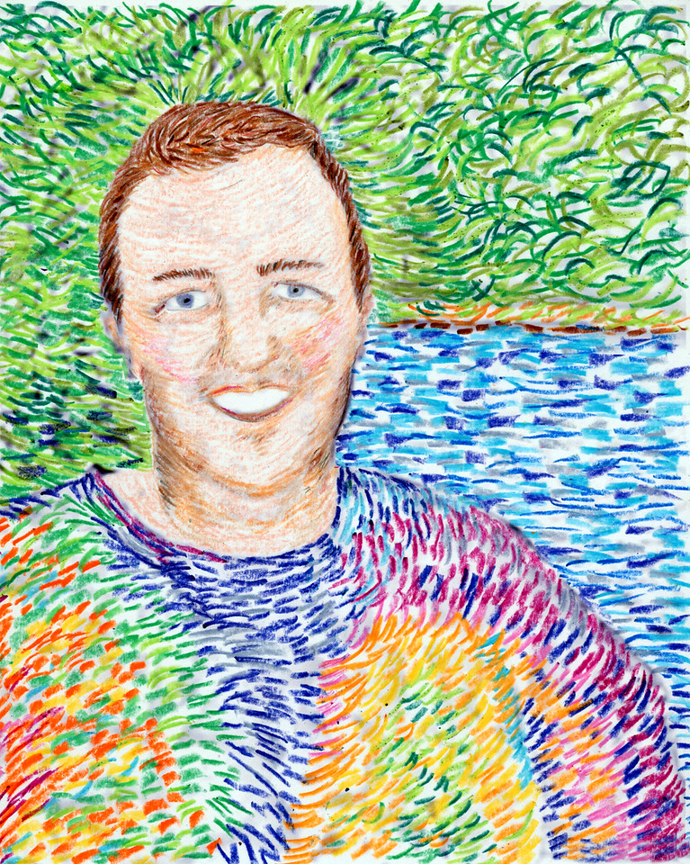 Shelly channels Van Gogh - done with crayon and colored pencil.