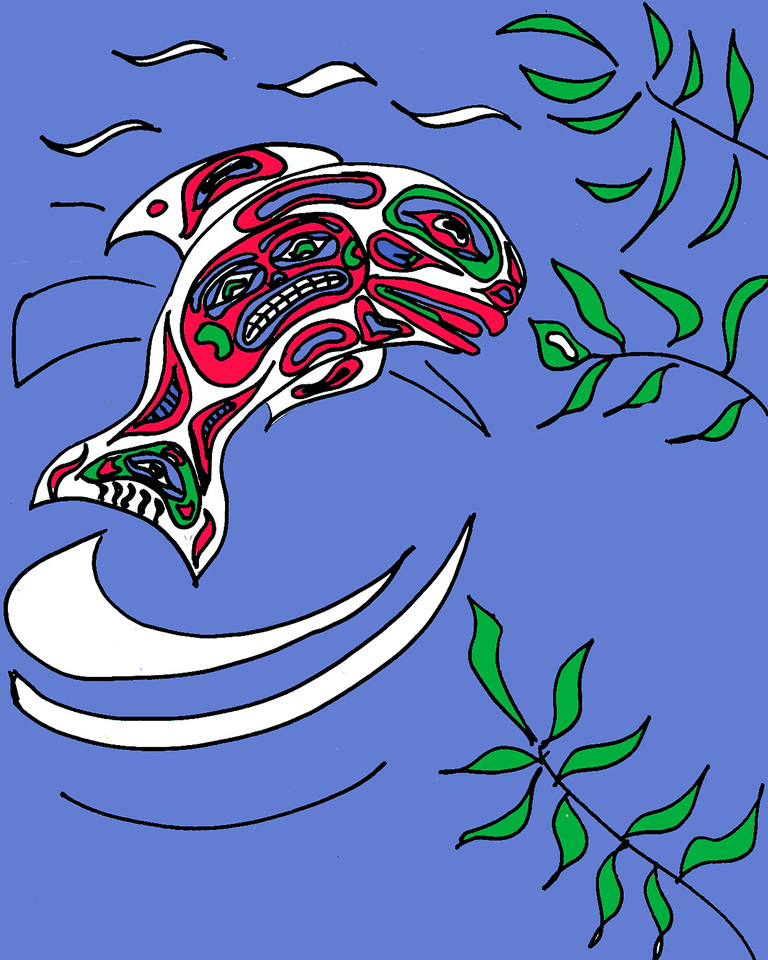 Shelly interjected this leaping fish into the scene - modeled after a Northwest Indian print we have in our home. It was sketched in pencil and marker, scanned into Photoshop, and painted using colors meant to approximate those used in the traditional form.