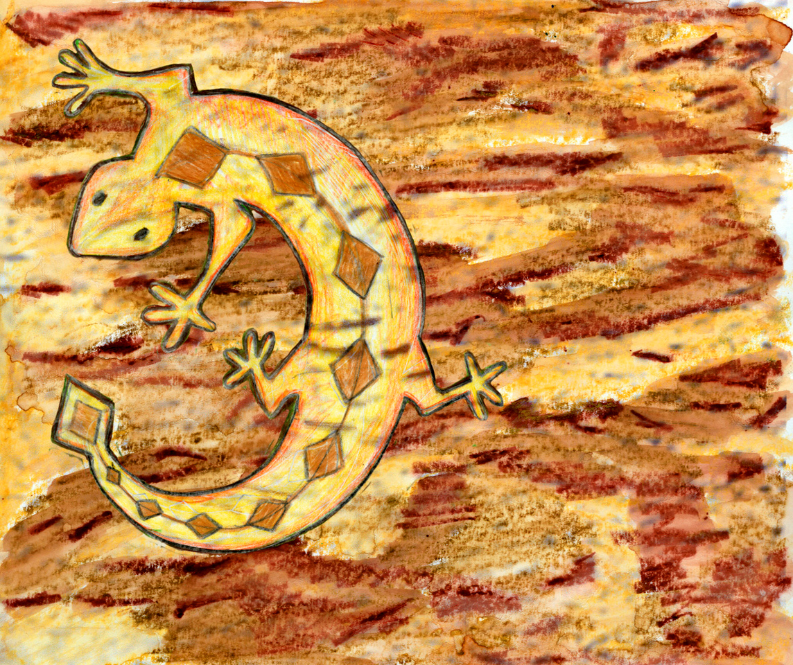 Here is our other lizard. Yes, this one was cloned from the last, in Photoshop, and pasted onto the background (done separately in watercolor).